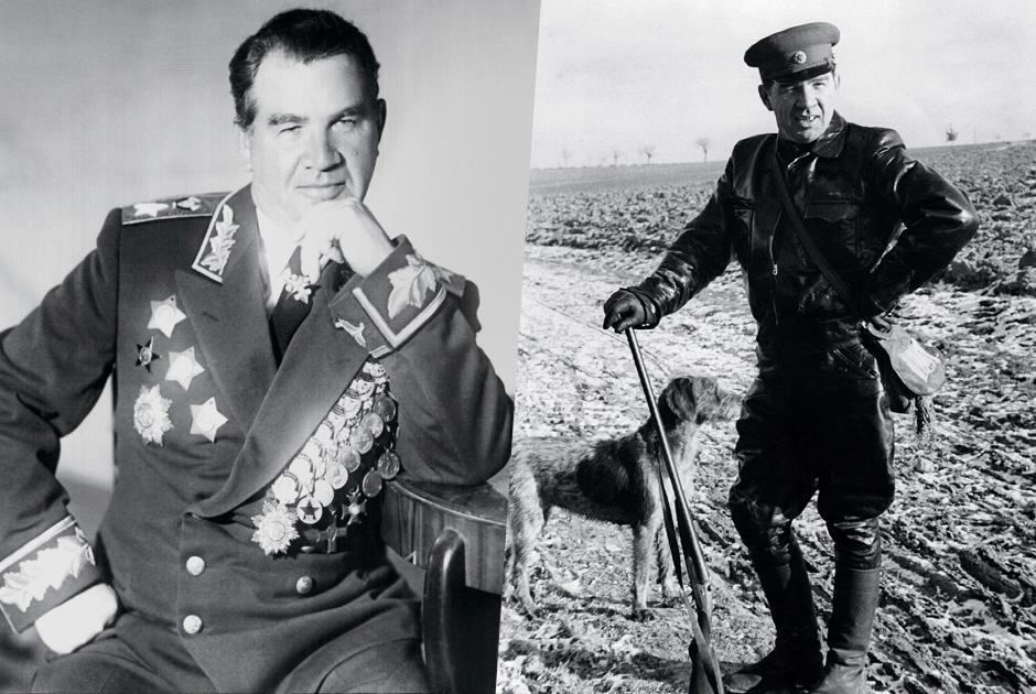 Василий Чуйков имел прозвище генерал Штурм, которое прекрасно описывало его бесстрашие и волевой характер. В 1940 году он служил военным атташе в Китае, но в начале войны обратился к командованию с требованием отозвать его на фронт, в действующую армию. С 1942-го по 1946 год он командовал 62-й армией, особо отличившейся в Сталинградской битве.   <br></br> Маршал Чуйков любил охоту и часто гулял по полям и лесам с любимой охотничьей собакой. Снимок сделан в Германии в 1950-е годы.