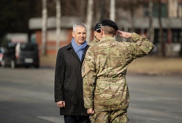 Министр обороны Латвии Артис Пабрикс на открытии штаба дивизии «Север»