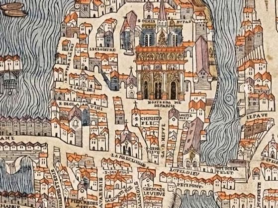 Нотр-Дам де Пари на карте Парижа 1550 года. В Средние века и раннее Новое время площадь перед собором была плотно застроена, и в нынешнем виде появилась только в XIX веке.