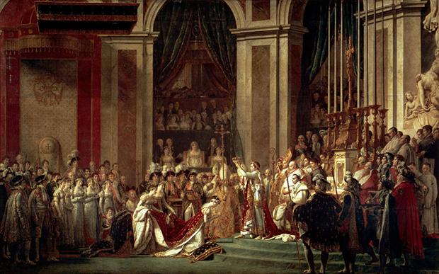 Одна из самых известных картин Жак-Луи Давида «Коронование императора Наполеона I и императрицы Жозефины в соборе Парижской Богоматери 2 декабря 1804 года» изображает момент, когда император Франции венчает свою супругу, забрав корону из рук Папы Римского.