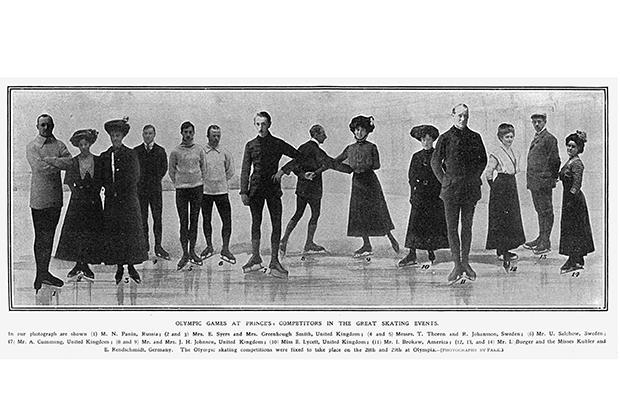 Участники соревнований по фигурному катанию в рамках летних Олимпийских игр 1908 года в Лондоне, собранные вместе с помощью фотомонтажа.