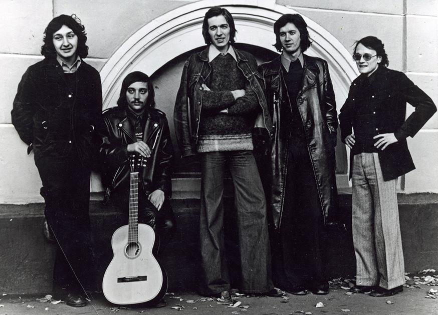Группа «Цветы»: Стас Намин, Юрий Фокин, Александр Лосев, Константин Никольский, Александр Слизунов, 1974 год