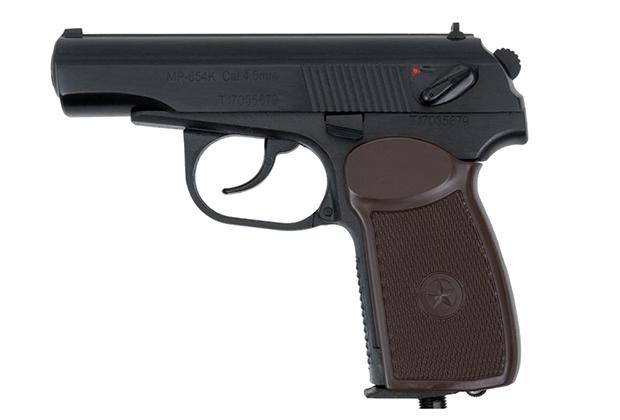 Пистолет МР-654К, калибр 4,5 мм с дульной энергией до 3 Дж, масса — 0,7 кг, прицельная дальность — 10 м. Лицензия не требуется