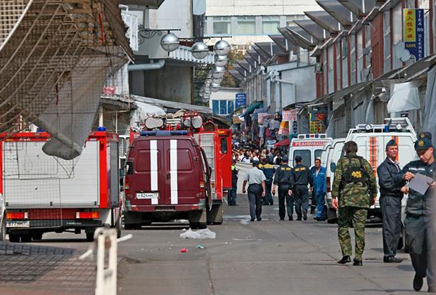Место взрыва на Черкизовском рынке в Москве