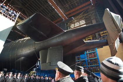 Церемония спуска на воду атомной подводной лодки «Белгород» в Северодвинске