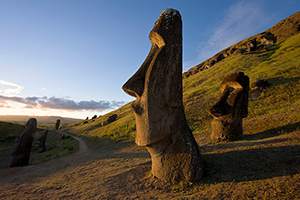 Giant monolithic stone Moai statues at Rano Raraku, Rapa Nui (Easter Island), UNESCO World Heritage Site, Chile, South America CREDIT Robert Harding / Gavin Hellier