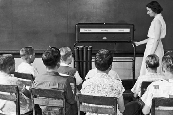 Мальчики на уроке чтения в школе Дозье, 1957 год