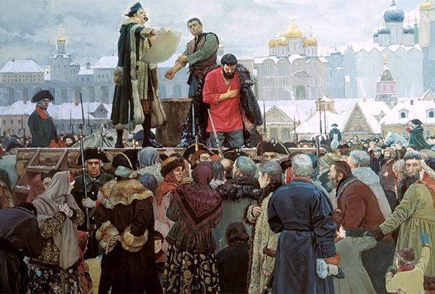Четвертование Емельяна Пугачева 10 января 1775 года на Болотной площади в Москве стало одной из последних публичных казней в Российской империи.
