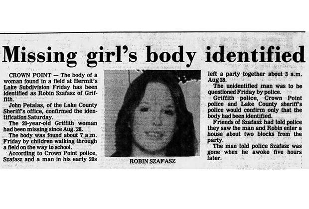 Статья в газете от 12 сентября 1982 года о том, что найденное на кукурузном поле тело принадлежит Робин Шафаш