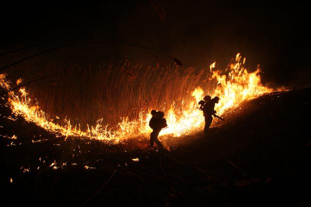 Пожарные-добровольцы тушат тростниковый пожар