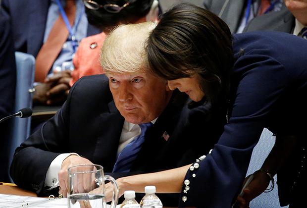 Дональд Трамп и представитель США при ООН Никки Хэйли. Сентябрь 2018