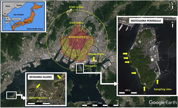 Эпицентр взрыва атомной бомбы в Хиросиме и области разрушения
