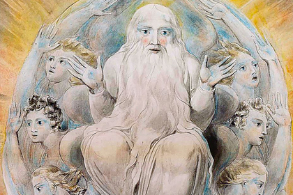 William Blake. «God blessing the seventh day»