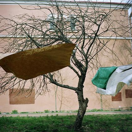 Петергоф. Одна из особенностей русских людей — сушить на деревьях белье, обращает внимание Васильева. «Одна из странностей — его не воруют», — отмечает она.
