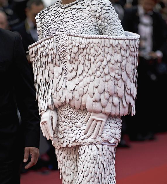 Китайская поп-певица Крис Ли (настоящее имя — Ли Юйчунь), которая появляется в Каннах практически ежегодно, на этот раз оделась на красную дорожку более чем экстравагантно. Ее костюм был покрыт стилизованными перьями и украшен сложенными «крыльями».
