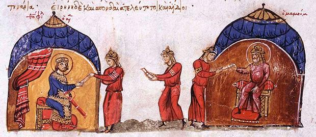 Аббасидский халиф аль-Мамун отправил посланника византийскому императору Феофилу