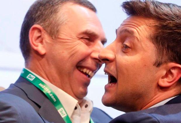 Сергей Шефир и Владимир Зеленский после второго тура выборов