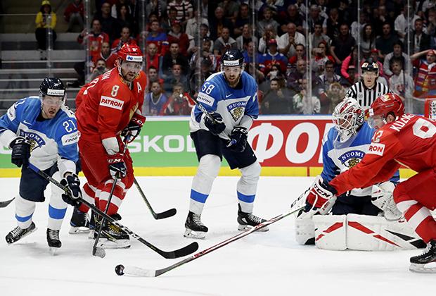 Игроки сборной России в матче с Финляндией