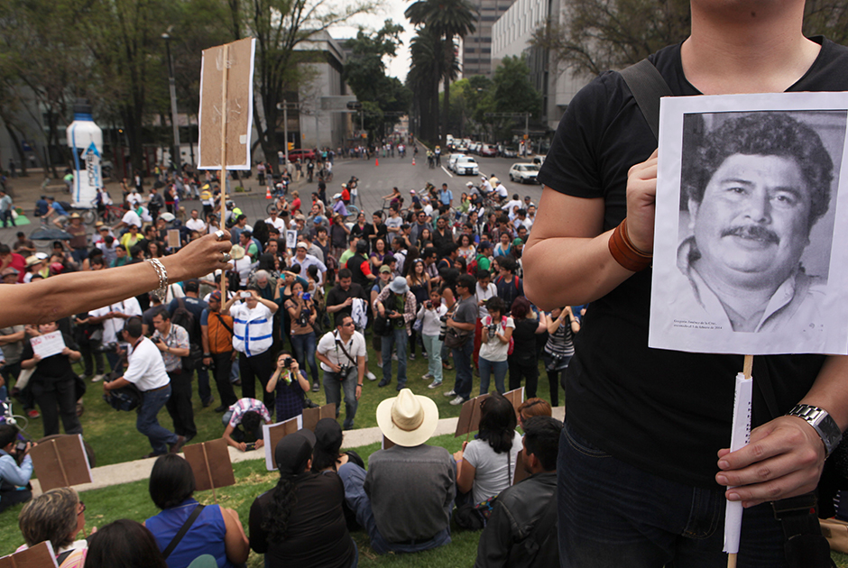 Журналисты протестуют против убийства их коллеги Грегорио Хименеса, похищенного и застреленного наркобаронами