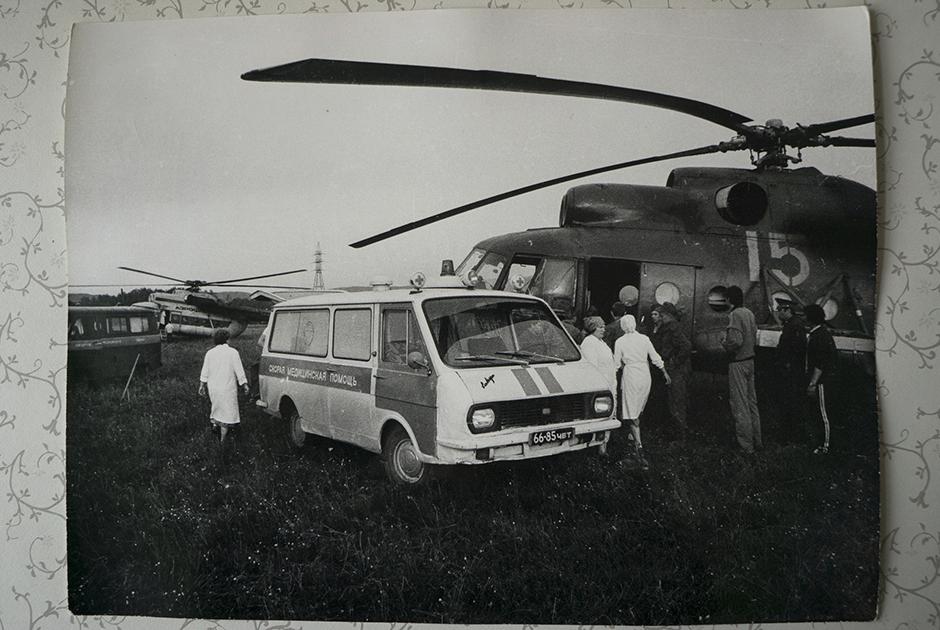 Эвакуация пострадавших на вертолетах в больницу города Уфы