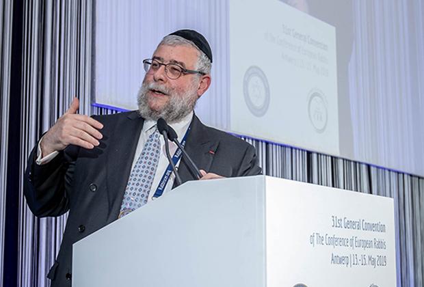 Пинхас Гольдшмидт на Конференции европейских раввинов в Антверпене, май 2019 года