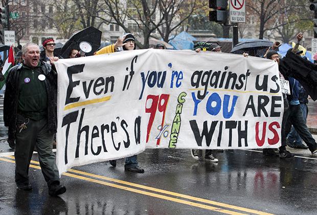 Протестующие против лоббизма в Вашингтоне в 2011 году в рамках акции Occupy Wall Street