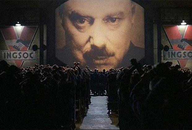 Кадр из фильма «1984», «Большой брат следит за тобой»