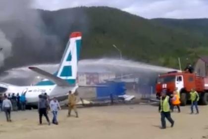 Появилось первое видео пожара Ан-24 в российском городе