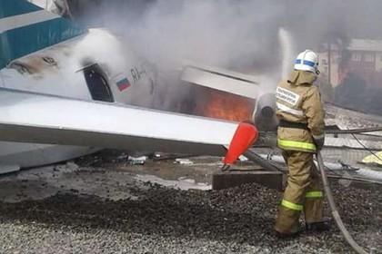 Аварийно приземлившийся в Нижнеангарске Ан-24 полностью сгорел