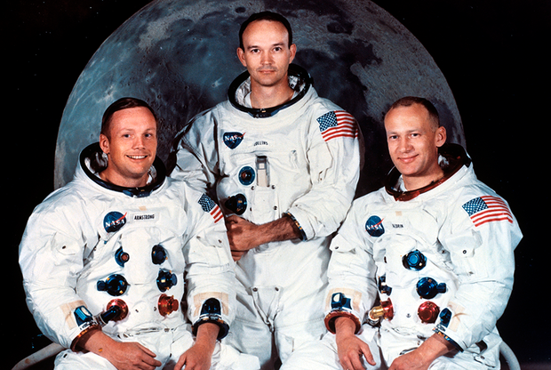 Основной экипаж Apollo 11 — Армстронг, Коллинз и Олдрин (слева направо),1968год.