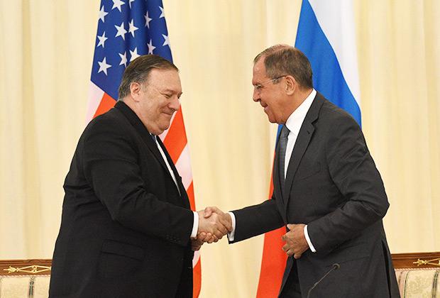 Майк Помпео и Сергей Лавров
