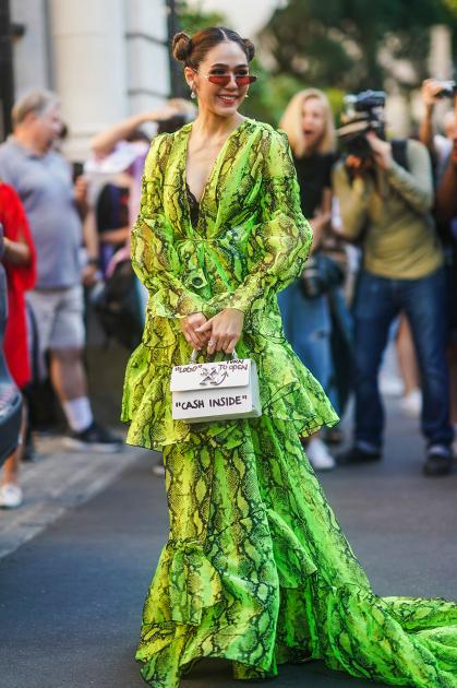 Тайско-британская актриса и it-girl Арайя Харгейт, она же Чомпу Арайя, для визита на показ Giambattista Valli выбрала платье с принтом под питона и сумочку с надписью Cash inside («Наличные — внутри»).