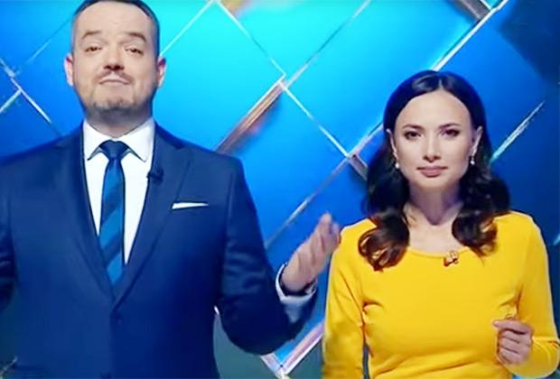 Украинские ведущие Василий Голованов и Елена Кирик