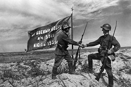 Водружение советского знамени в районе реки Халхин-Гол