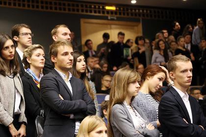Студенты МГИМО во время встречи с Николя Саркози