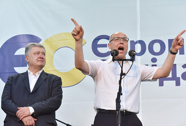 Петр Порошенко и спикер Верховной Рады Украины Андрей Парубий на предвыборном митинге в Стрые