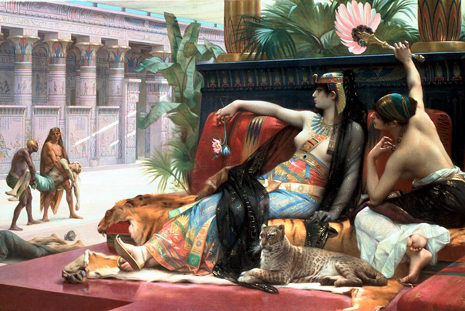 Одна из легенд гласит, что Клеопатра была большим специалистом в области ядов. Этот сюжет неоднократно привлекал художников. Например, британский художник голландского происхождения Лоуренс Альма-Тадема (1836 — 1912) посвятил этому свою картину «Клеопатра испытывает яды на приговоренных к смерти».