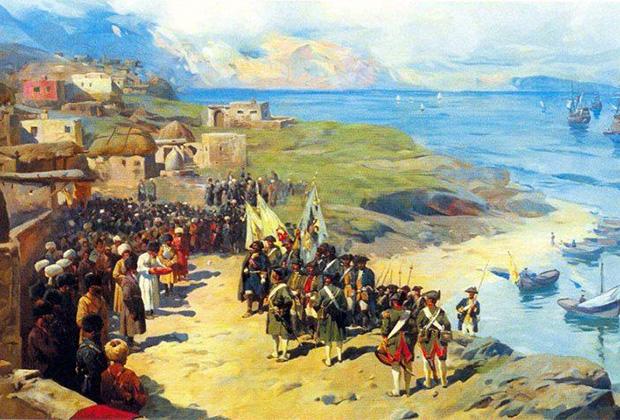 Франц Лубо «Вступление императора Петра в Тарки 13 июня 1722 года»