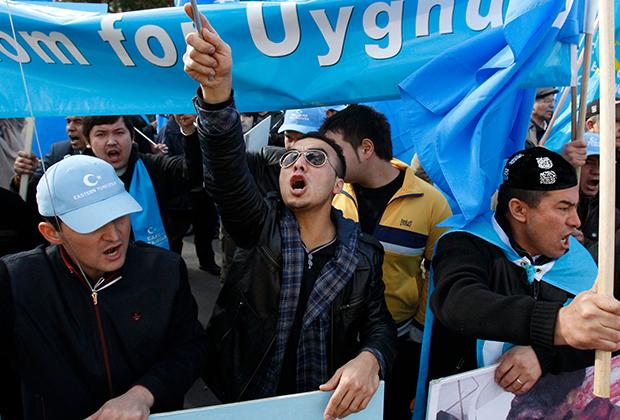Уйгуры во время протеста около китайского консульства в австралийском Мельбурне