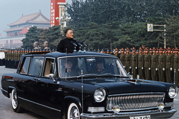 Deng Xiaoping during the celebration of the 35th anniversary of the founding of the People's Republic of China. Beijing, China. October 1, 1984. Deng Xiaoping reviewing the honor guard of the three services during the celebration of the 35th anniversary of the founding of the People's Republic of China. Beijing, China. October 1, 1984