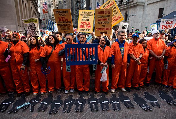 Активисты в Нью-Йорке протестуют против заключения нелегалов и индустрии частных тюрем