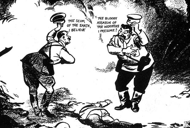 """Карикатура в британской газете, изображающая встречу Гитлера и Сталина над телом поверженной Польши.  Вольный перевод с английского: «""""<a href=""""https://ru.wikipedia.org/wiki/Недочеловек"""" target=""""_blank"""">Унтерменш</a>, надеюсь?"""" — """"Кровавый палач рабочего класса, полагаю?""""»"""