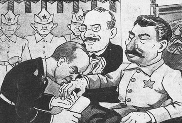 """Подпись под карикатурой: «Прусский вассалитет в Москве: """"Пакт мы тебе, Риббентроп, подписали. Ты ручку нам поцелуй, пакт возьми, а что мы будем дальше делать — это мы еще подумаем""""»"""