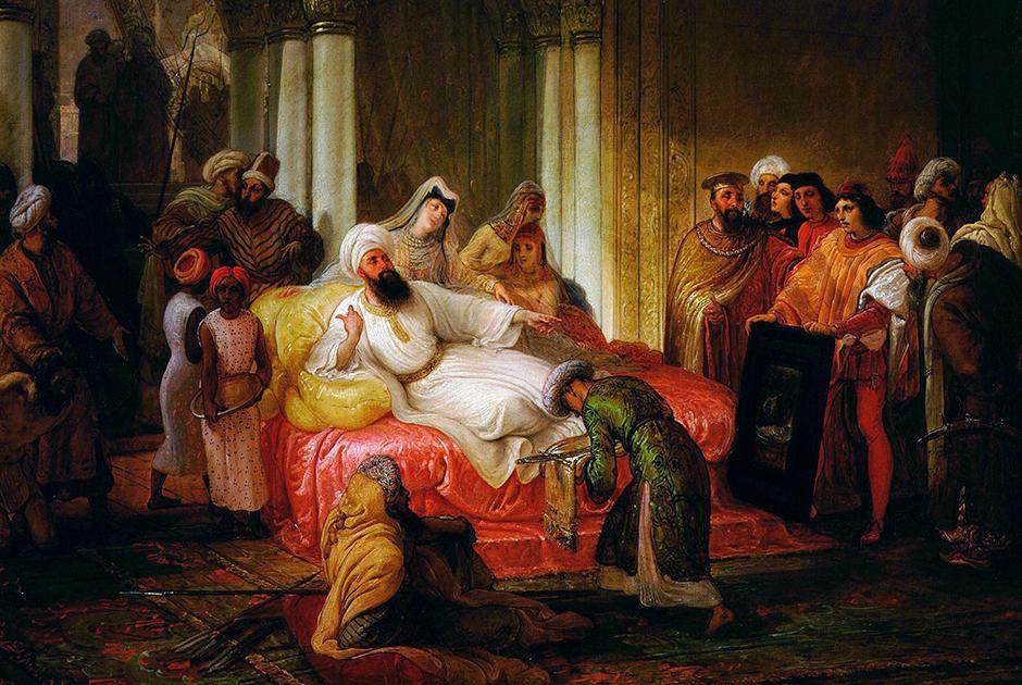Итальянцы же гордятся тем, что их соотечественник приложил руку к созданию дворца султана. Художник Франческо Айец посвятил этому картину «Джентиле Беллини представляют султану Мехмеду II».
