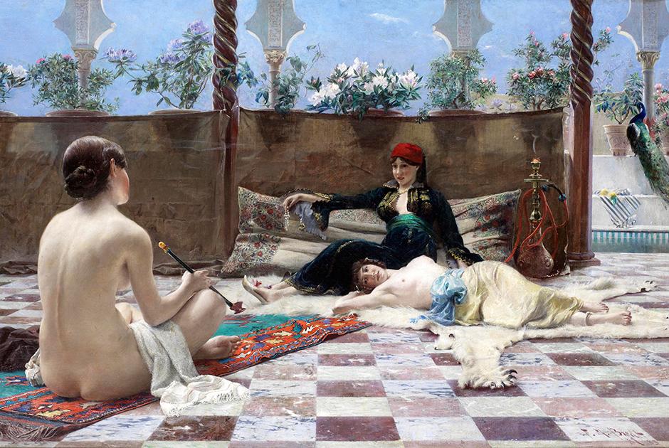Великолепие дворца и слухи о роскошной жизни султана во все времена привлекали художников и литераторов. Особенно возбуждал воображение европейцев гарем, скрытый от их глаз. Картина «Турецкие женщины» была написана Фердинандом Максом Бредтом в 1893 году, когда Османская империя разваливалась на глазах