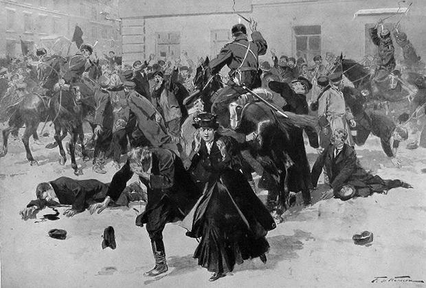 Валентин Серов «Разгон казаками демонстрации в 1905 году»