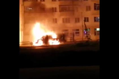 Взорванный катафалк в российском городе попал на видео