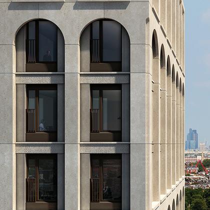 Социальное жилье в Лондоне. Дом очень напоминает одну элитную московскую новостройку, возведенную около Донского кладбища. Проект разработало бюро Henley Halebrown. В этой башне 133 квартиры, большинство будут сдаваться в аренду по льготным ставкам.