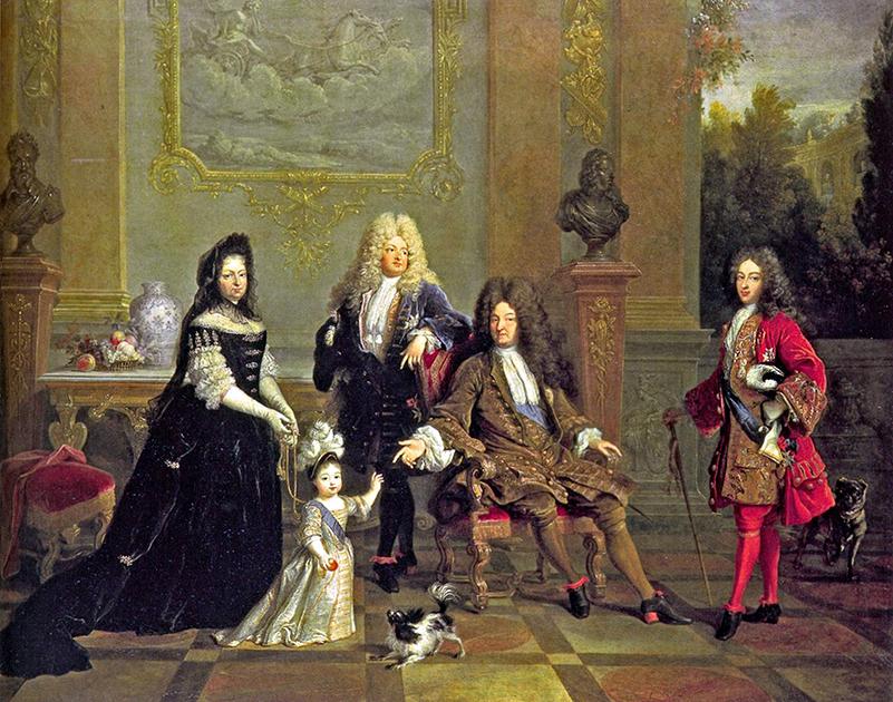 Людовик так долго оставался у власти, что его преемником стал его правнук. «Портрет Людовика XIV и его наследников» выполнен художником Никола де Ларжильером примерно в 1710-1715 годах
