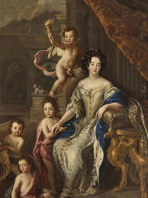 Маркиза де Монтеспан, пришедшая на смену де Лавальер, с четырьмя детьми, признанными Людовиком XIV и получившими от него фамилию Бурбон. С картины художника Шарля де Лафосса, 1677, Версальский дворец